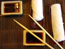 Sushi Table Ready For Dinner Royalty Free Stock Photos