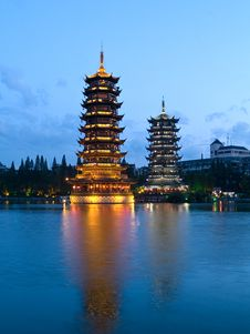 Free Pagodas In Banyan Lake In Down Royalty Free Stock Photo - 4760665