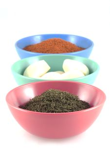 Free Herbs, Garlic And Chilipowder. Stock Photos - 4761493