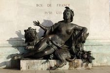 France; Lyon; Lyons; Statue At The Place Bellecour Stock Photo