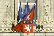 Free France; Lyon Or Lyons: Flags At The City Hall Stock Photos - 4765483