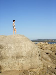 Free Woman On Top Of The Mountain Stock Photo - 4766990