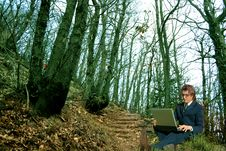 Free Computer In The Wood Stock Image - 4767071