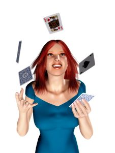 Woman Throwing Cards Royalty Free Stock Photography