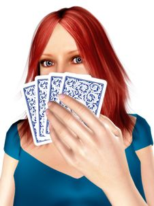 Woman Playing Cards Stock Photo