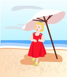 Free Girl At The Beach Stock Images - 4769174