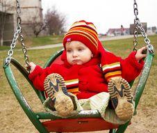 Free Sad Girl Drive On A Swing Royalty Free Stock Image - 4769756