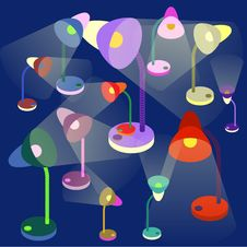 Free Colorful Table-lamps On Dark Blue Background Stock Photos - 47667973