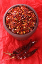 Free Hot Red Chilli Chillies Crushed Pepper On Red Stock Image - 4774741