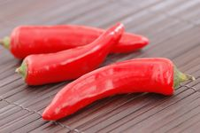 Red Chillies On A Place Mat. Stock Image
