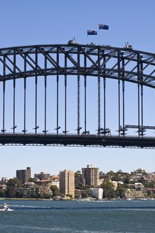 Sydney Harbor Bridge With View Of Buildings Below Stock Images