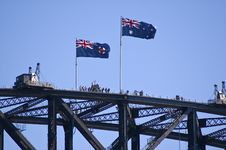 Tourists On Top Of Syndey Harbor Bridge Royalty Free Stock Photography