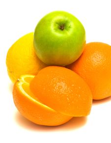Orange, Lemon And Green Apple