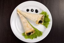 Free Pancakes With Mushrooms And Olives. Royalty Free Stock Photography - 4776347