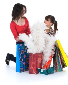 Free Expressive Girls Shopping Royalty Free Stock Photos - 4776578