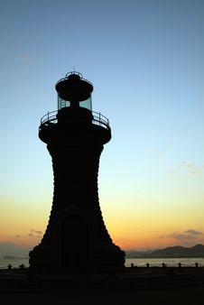 Lighthouse In Sunset Royalty Free Stock Images