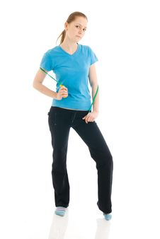 Free The Young Woman With The Skipping Rope Isolated Stock Photos - 4777823