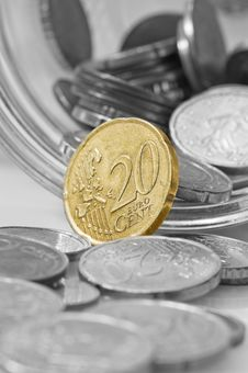 Free Euro Cents Rolling Out Of Pot. Stock Photos - 4777833