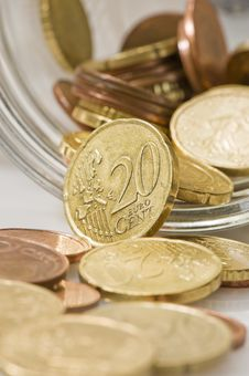 Free Euro Cents Rolling Out Of Pot. Royalty Free Stock Photography - 4777837
