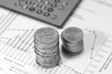 Free Piles Of Euros On Financial Data. Royalty Free Stock Photography - 4777877