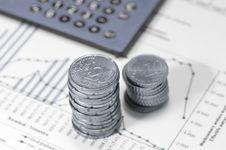 Free Piles Of Euros On Financial Data. Stock Photos - 4777903