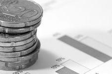 Free Piles Of Twenty Cents Euros On Financial Data. Royalty Free Stock Photo - 4777985