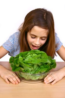 Free Girl Eating A Salad Royalty Free Stock Images - 4778649