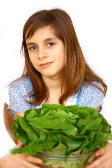 Free Girl Eating A Salad Royalty Free Stock Photography - 4778667