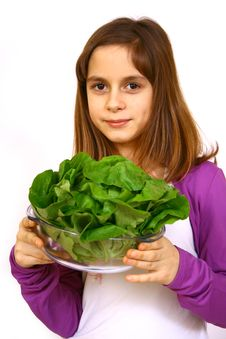 Free Girl Eating A Salad Royalty Free Stock Photography - 4778697