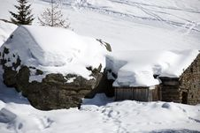Mountain Hut Under Snow Royalty Free Stock Image