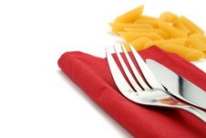 Free Fork And Knife On Red Napkin Stock Image - 4783441