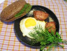 Fried Eggs With Sausage Stock Photography