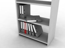 Shelf With Folders Stock Photo