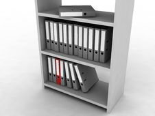 Shelf With Folders Stock Photos