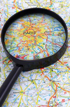 Free Paris - France Map Under Loupe Royalty Free Stock Images - 4787199