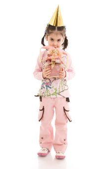Free The Little Girl With A Doll Isolated On A White Stock Photography - 4787232