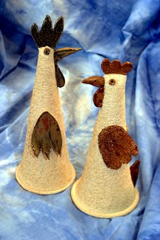 Two Ceramic Cocks Stock Images
