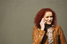 Girl Talks By Phone Stock Photo