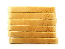 Free Fresh Cut Bread On White Background Stock Image - 4789061