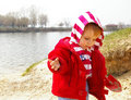 Free Little Girl Plays On Coast Of Lake Royalty Free Stock Photo - 4799315