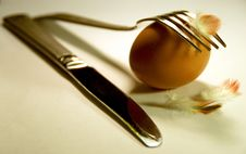 Egg With A Fork And Knife Stock Photos
