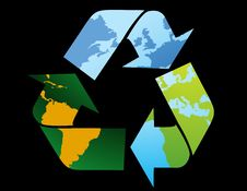 Recycle Symbol-World Map Royalty Free Stock Photo