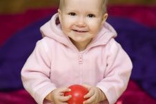 Girl With Small Ball Stock Photography