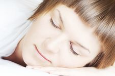 Free Beautiful Woman In White Sleeping Stock Image - 4791831