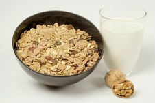 Milk, Cereals And Walnuts Stock Image