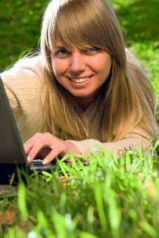 Free Beautiful Young Girl With Laptop Stock Photos - 4793893