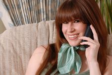 Cute Young Lady On Telephone Royalty Free Stock Image