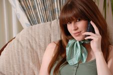 Cute Young Lady On Telephone Stock Photography
