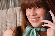 Cute Young Lady On Telephone Royalty Free Stock Photo