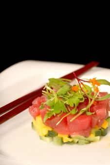 Fresh Japanese Seafood, And Mango Appetizer Royalty Free Stock Photography